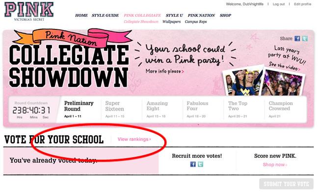 VOTE WVU  |  Victoria's Secret PINK Nation Collegiate Showdown