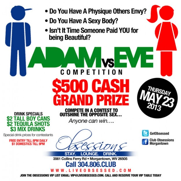 Adam vs Eve Competition – $500 Cash Prize – THURSDAY MAY 23rd