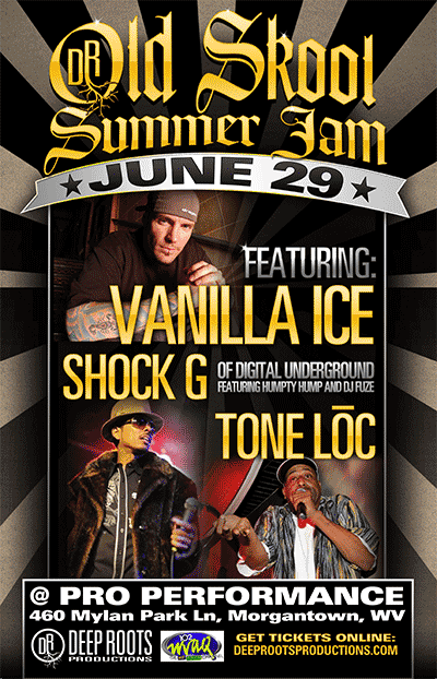 Deep Roots Productions Old Skool Summer Jam – June 29th – Vanilla Ice, Shock G, Tone Loc