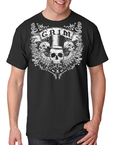Pre-order @grimgraphix tattoo tee to be introduced at this year's WV Tattoo Expo, October 11-13, now and save $5.  Printed on black. Free sticker included.