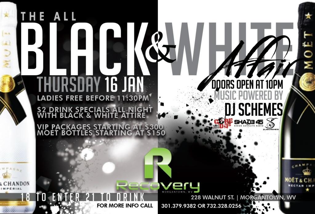 THE BLACK & WHITE AFFAIR THIS THURSDAY AT RECOVERY CLUB MORGANTOWN WV W/ @DJSCHEMES