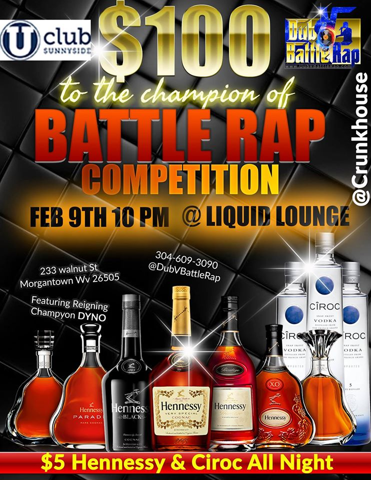 @DubVBattleRap – It's going down @LiquidLoungeWV Feb 9th #battlerap who got the #BARZ @DJSTRIZY @djwig @monstalung @crunkhouse
